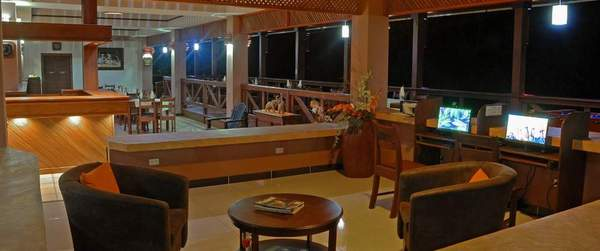 Lounge areas at Volcano Lodge & Springs in La Fortuna, Costa Rica. As a partner hotel to Desafio, we can get you the lowest prices on hotels and your entire Costa Rica vacation!
