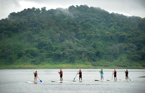 Stand Up Paddle Boarding at the base of the Arenal Volcano