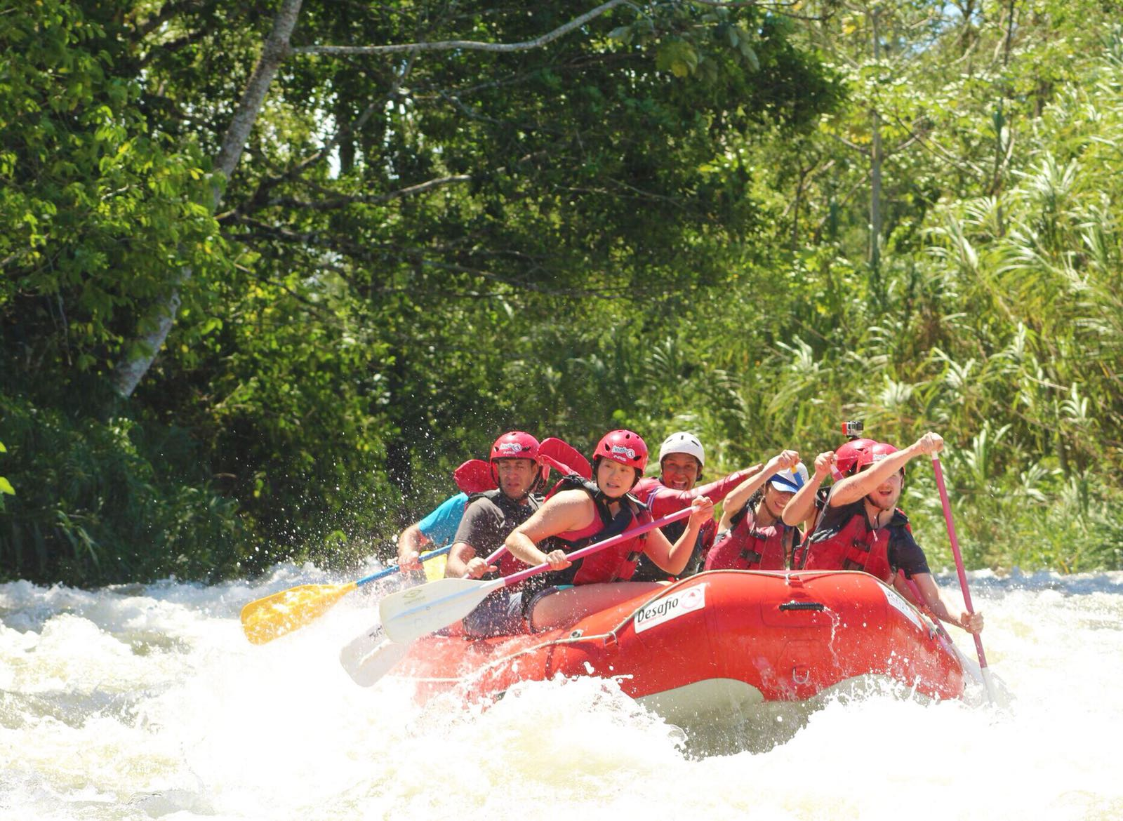 A photo of a group having an epic adventure while whitewater rafting at the Balsa River