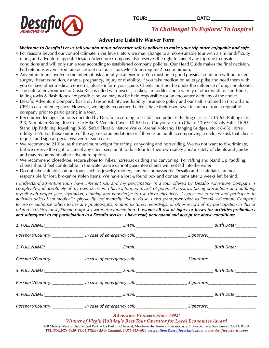 Liability And Waiver Form Desafio Adventure Company – Free Liability Waiver Form Template