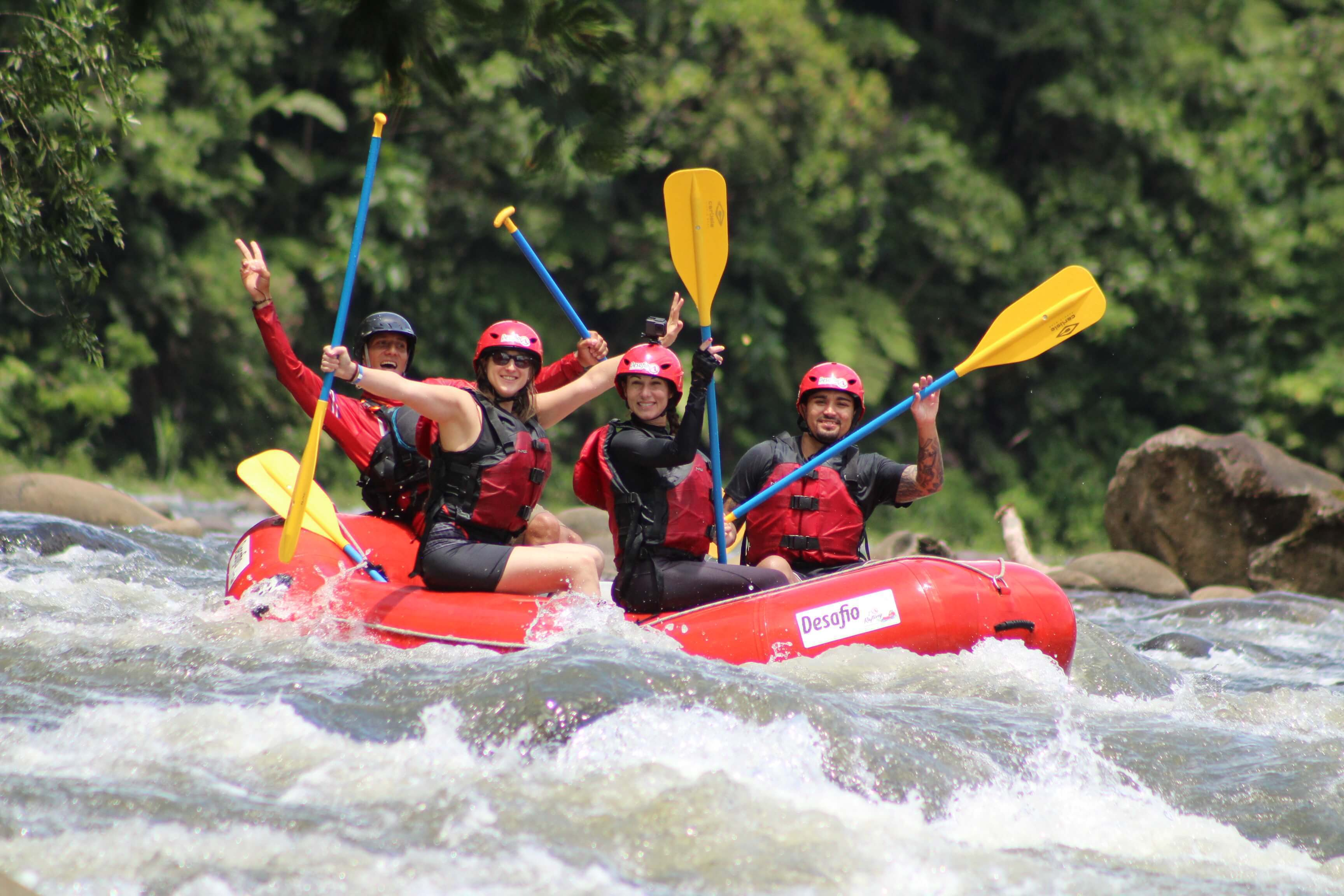 Adventure rafting on the Class 2 and 3 Sarapiqui River with Desafio Adventure Company.