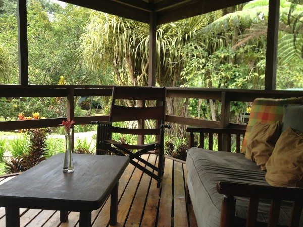 Comfortably furnished private jungle balconies.