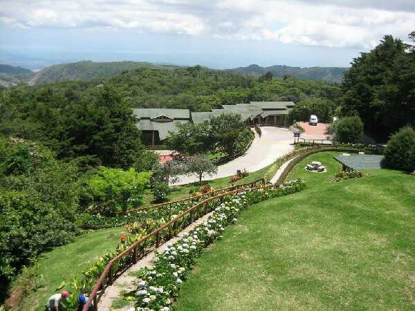 Enjoying the beautiful view and gardens.