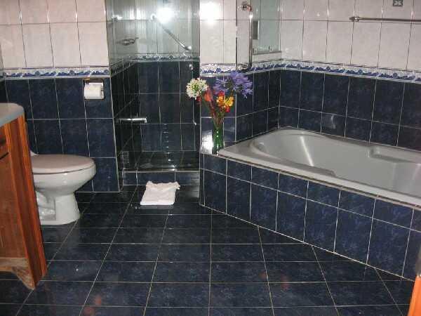 Large bathrooms feature separate showers and bathtubs at El Establo hotel.