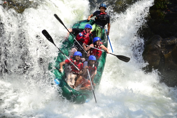 Tenorio rafting with Desafio on 12-Ft waterfall drop Cascabel Falls.