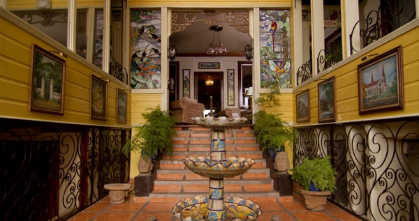 Small colonial-style boutique hotel sits