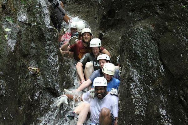 Getting wet in the Lost Canyon.