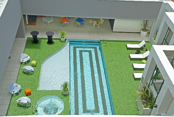 The outdoor lap pool.